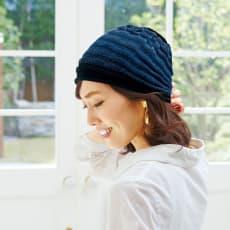 洗えるシルク混 グラデーション帽子(市松編み)