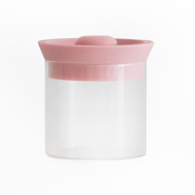 シリコンリッドジャー SILICON LID JAR ガラス S ピンク ピンクのシリコンキャップがかわいい。耐熱ガラスで便利&清潔スタイリッシュ