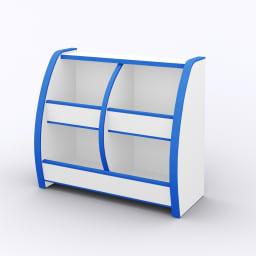クッション付安心おもちゃ箱幅65 ブルー