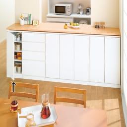 組合せ・幅高さ奥行のサイズオーダー薄型収納庫 左開き 幅25~45cm 使用イメージ(イ)ホワイト