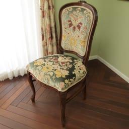 イタリア製 金華山織 ダイニングチェア 1脚 美しいブーケのような花柄をモチーフにしたitaly chair(イタリアチェア)。