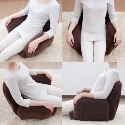 すっぽり収まる肘付きリクライニング座椅子 肘と背もたれがリクライニングして腰回りに合わせてすっぽりフィット。