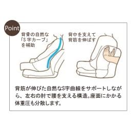 すっぽり収まる肘付きリクライニング座椅子 【Point】 背筋が伸びた自然なS字曲線をサポートしながら、左右の肘で腰を支える構造。座面にかかる体重圧も分散します。