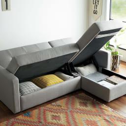 収納庫付きリクライニングソファ お得な2点セット(カウチソファ+2人掛けソファ) (オープン時)座面下は、雑誌やブランケットがしまえる収納庫。