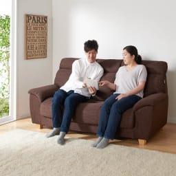 座ったまま眠ってしまうソファ ・幅147cm (イ)ダークブラウン ※写真はソファ幅187cmです。