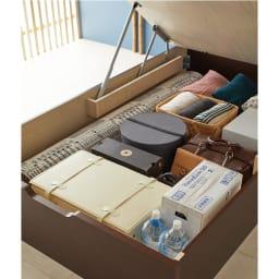 「美草」畳ガス圧収納ベッド 収納棚付きヘッドボードタイプ シングル