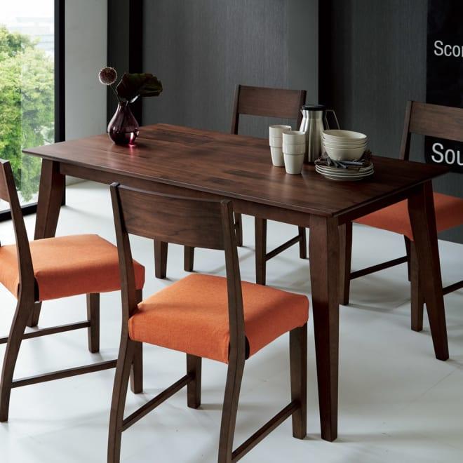 北欧スタイルダイニング テーブル 幅140cm コーディネート例(イ)ブラウン ※お届けはテーブルのみです。