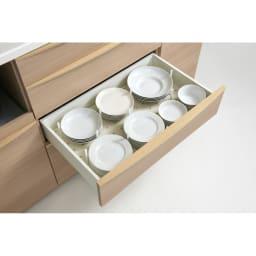 お手入れ簡単ナチュラル高機能シリーズ カウンター 幅120cm 【3段目】平皿や小鉢等
