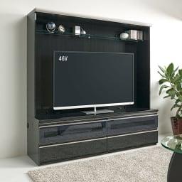 ラグジュアリー壁面TVボードシリーズ160<パモウナ VD-1600> 設置イメージ ブラック色