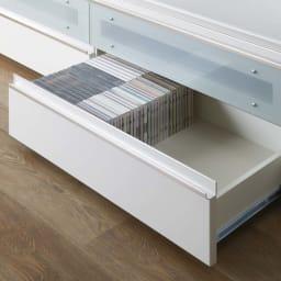 ラグジュアリー壁面TVボードシリーズ160<パモウナ VD-1600> ◎全引出にベアリング式フルスライドレール採用 引出にはDVDやCD等のソフト類が収納できます。 (引出耐荷重:20kg)