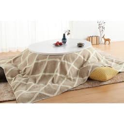 組立不要!ナラ天然木折れ脚まぁるいこたつテーブル(オーバル型) コーディネート例