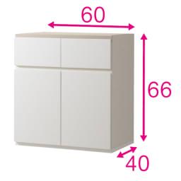 ギャラリー壁面収納 洗練デザインのリビングカウンター収納シリーズ 下台 扉タイプ 幅80cm [パモウナ YA-80] (ウ)ホワイト色見本 写真は幅60cmタイプ
