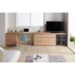 ギャラリー壁面収納 洗練デザインのリビングカウンター収納シリーズ 下台 扉タイプ 幅120cm [パモウナ YA-120] (ア)ナチュラル組み合わせ例 多機能ワゴン収納時。すっきりぴったり収まります。