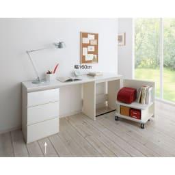 ギャラリー壁面収納 洗練デザインのリビングカウンター収納シリーズ 下台 引き出しタイプ 幅40cm [パモウナ YA-43] (ウ)ホワイト組合せ例 リビングで勉強する子ども向けの学習スペースとしてもおすすめ。