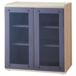 ギャラリー壁面収納 洗練デザインのリビングカウンター収納シリーズ 下台 ガラス扉タイプ 幅60cm [パモウナ YA-61] (ア)ナチュラル 前面ガラスは中の収納物が見える色付きタイプ。 天板は化粧仕上げではありません。天板を組み合わせてお使いください。