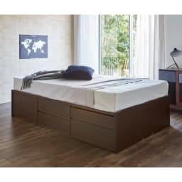 サイドテーブルが出てくるチェストベッド(フレームのみ) シングル (イ)ダークブラウン ※写真はセミダブルです。お届けはフレームのみです。