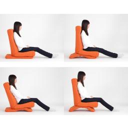 GOOD DESIGN受賞 ZAGUN フレックスチェア 本体の背もたれを一番たてて、頭部と脚部は伸ばした状態。台座部は前後水平、前6段階、後ろ6段階、前後とも6段階にリクライニングした4つの状態。