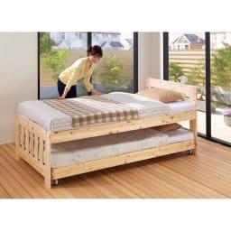 ひのきが香る天然木 親子すのこベッド 上下段親子ベッド ≪収納時≫ 女性でもベッドメイクや布団を敷くのにほどよい高さです。
