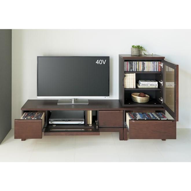 ミニマムライフテレビボード テレビ台 幅120cm コーディネート例(イ)ダークブラウン お届けはテレビ台幅120cmとなります。
