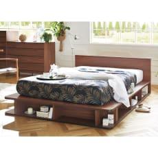Velc ウォルナットOPEN収納ベッド フレーム幅171cm(フレームのみ)