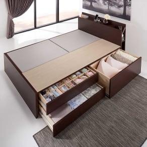 【フレームのみ・セミダブル】棚付きフルオープン引き出しベッド 写真