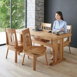 和モダンダイニング ダイニングテーブル 幅160cm コーディネート例(イ)ナチュラル ※お届けはダイニングテーブルです。