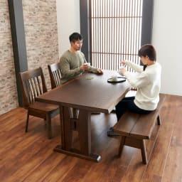 和モダンダイニング ダイニングテーブル 幅160cm コーディネート例(ア)ダークブラウン