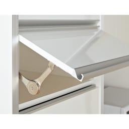 ContrnoII コントルノ キッチン収納シリーズ 家電を隠すフラップボード 幅62cm 上2段フラップ扉 普段使わない小物はここに収納。跳ね上げ式のフラップ扉で物の出し入れにも便利。