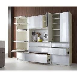 ContrnoII コントルノ キッチン収納シリーズ 家電を隠すフラップボード 幅62cm シルバー