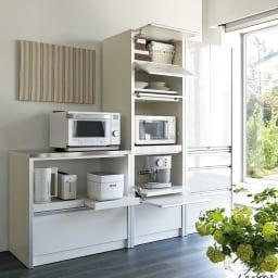 ContrnoII コントルノ キッチン収納シリーズ 家電を隠すフラップボード 幅62cm ホワイト