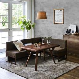 天然木ダイニングこたつテーブルシリーズ ソファ(アームなし) コーディネート例(イ)ダークブラウン ※お届けはソファのみです。