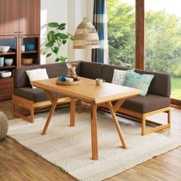 天然木ダイニングこたつテーブル+コーナーソファ お得な3点セット コーディネート例(ア)ナチュラル:クッション等は小道具です