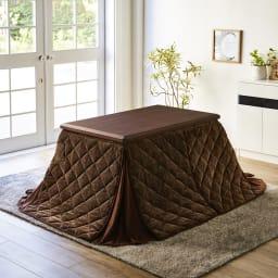 天然木ダイニングこたつテーブル+コーナーソファ お得な3点セット 使用例