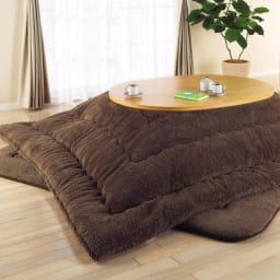 【だ円形】120×90cm ナラ天然木折れ脚まぁるいこたつ オーバル形 (使用例)こたつ時 ※写真のテーブルはオーバル型(90×120cm)です。