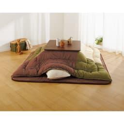 【1正方形】80×80cm 木の風合いで選べる平面パネルこたつテーブル 使用イメージ(イ)ダークブラウン