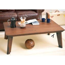 【2長方形・小】105×75cm 木の風合いで選べる平面パネルこたつテーブル (イ)ダークブラウン 北欧風のハの字の脚デザイン。リビングを可憐に彩ります。