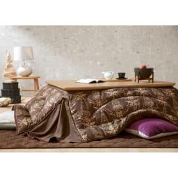 【3長方形】120×80cm 木の風合いで選べる平面パネルこたつテーブル 使用イメージ(ア)ナチュラル