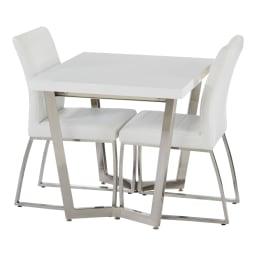 コンパクトモダンダイニング テーブル 幅85cm 使用イメージ(ア)ホワイト