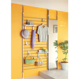 天井突っ張り式 玄関壁面ブティックミラー 幅40cm ブティックハンガーと揃えて。シリーズ商品とのコーディネート例