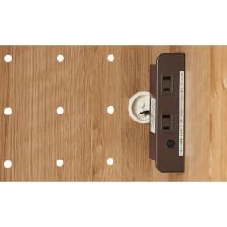 やさしい天然木風デザインの隠せる家電収納庫 大型レンジ対応ハイタイプ 奥行54.5cm 計1500Wの2口コンセントが便利です。