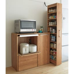 天然木調隠せる家電収納キッチンカウンター 奥行45.5cm (ア)ブラウン ※こちらの画像の色味が実際の商品に近いお色となります。