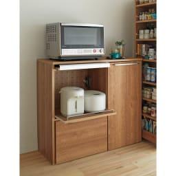 天然木調隠せる家電収納キッチンカウンター 奥行45.5cm ロータイプは大型レンジにも対応。 (ア)ブラウン
