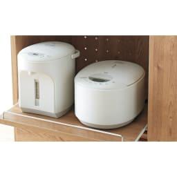 天然木調隠せる家電収納キッチンカウンター 奥行45.5cm 家電の蒸気を逃すのに便利なスライドテーブル付き。