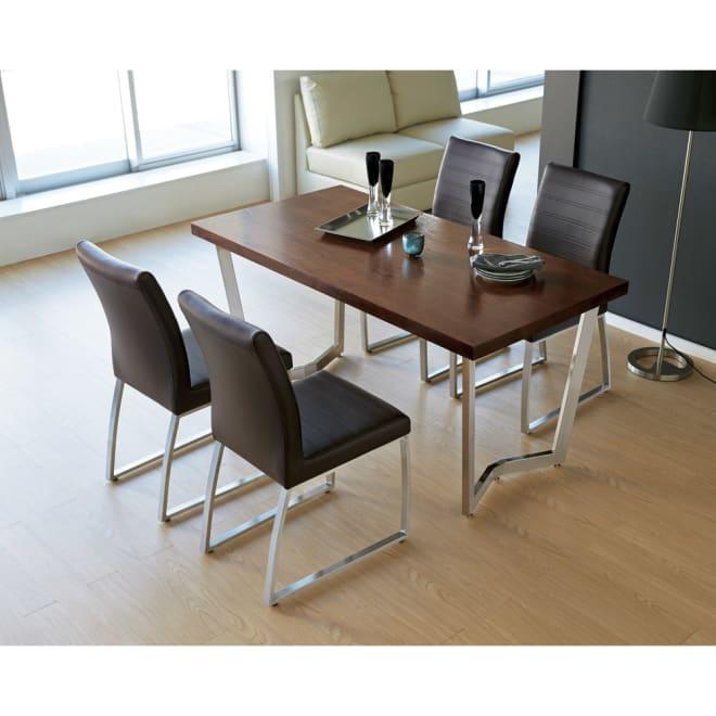 コンパクトモダンダイニング テーブル 幅150cm 使用イメージ(イ)ダークブラウン ※お届けはテーブルです。