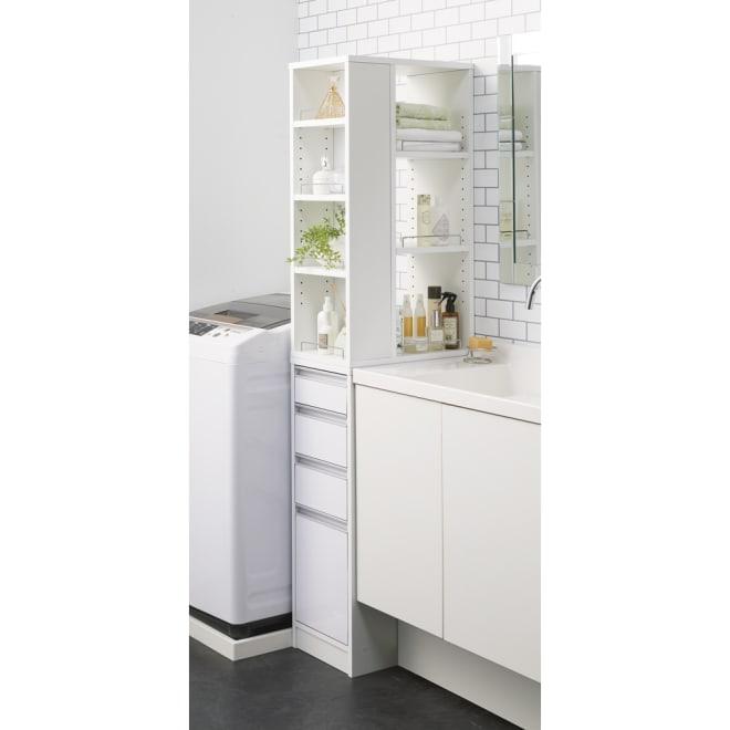 収納物が取り出しやすい3面オープンすき間収納庫 幅30cm 洗面所の幅30cmのすき間にぴったり!