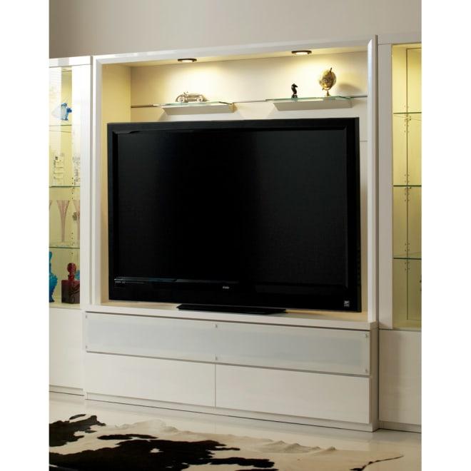 美しくディスプレイできる収納システム テレビボード 幅160cm【52~60インチ型液晶テレビ収納可能】 (ア)ホワイト