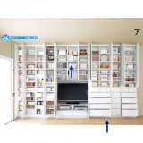 テレビ台の高さが選べて配線も隠せる壁面収納 奥行34cmタイプ 引き出しタイプ 幅116.5高さ180cm 写真