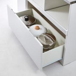 収納物で選ぶステンレスカウンター 家電×2タイプ 幅120cm 引き出しは寸胴鍋もおさまる深さです。