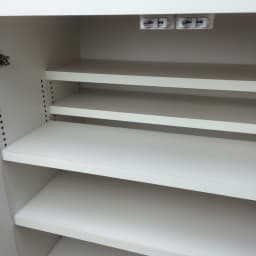 1cmピッチ&段違いで使えるハーフ棚板たっぷり収納庫 幅88高さ70cm 前後の段違い棚で無駄なく空間を活用。狭いスペースにもたっぷり収納。
