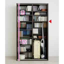 掃除機もしまえる引き戸本棚 幅100cm ミドルタイプ 扉を外した状態 ※写真は幅100cmハイタイプです。※赤文字は内寸(単位:cm)